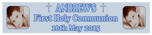 Personalised Blue Photo First Communion Banner